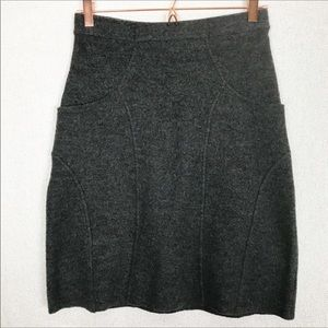 Anthropologie Sparrow Gray Wool Skirt Size Small